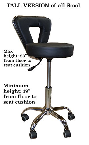 Spa Pedicure Chair Stool for Nail, Hair, Facial Technitian – 6 Colors Available (Tall, Black)