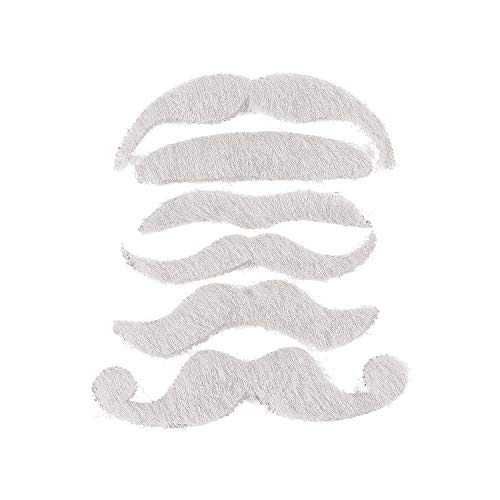 Fun Express - White Mustache Assortment - Apparel Accessories - Costume Accessories - Bulk Accessories - 12 Pieces -
