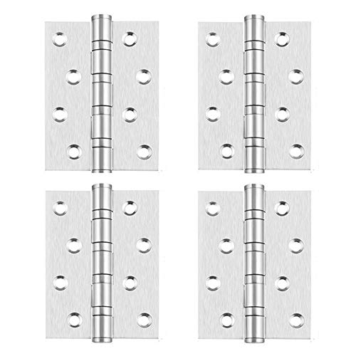 (SYOOY 4Pcs Satin Nickel Door Hinges for Doors and Windows Brushed Nickel with Matching Screws(3.93'' x 2.95'' x 0.5''))