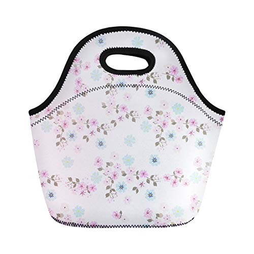 Semtomn Neoprene Lunch Tote Bag Vintage Feedsack Pattern in Small Flowers Millefleurs Floral Sweet Reusable Cooler Bags Insulated Thermal Picnic Handbag for Travel,School,Outdoors,Work