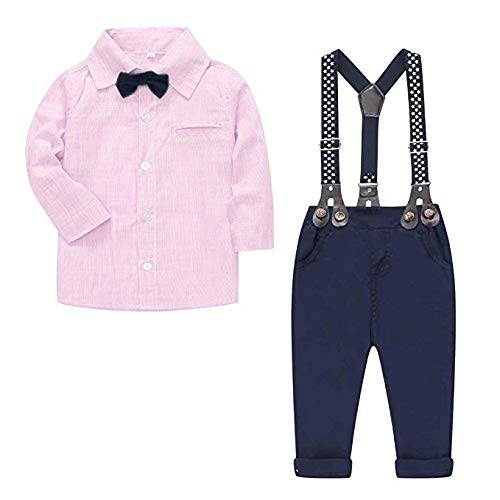 Baby Boys Clothes, Long Sleeves Dress Shirt Dress Shirt and Suspender Pants Set Tuxedo Gentlemen Outfit with Bow Tie for Newborn Toddlers Baby Boys, S01 Pink, 6-9 Months/Tag 70 ()