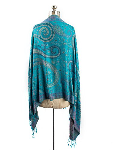 f7a0250f0 ... Pashmina Indian Paisley Traditional Jacquard Scarf - Hand Made in India  (Turquoise/Lavendar). Turquoise/Lavendar