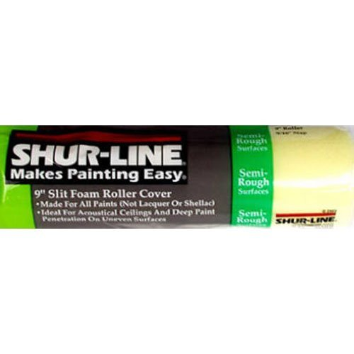 Shur-Line 07030 9-Inch Slit Foam Roller Cover for Semi-Rough Surfaces with 9/16-Inch Nap - Split Foam