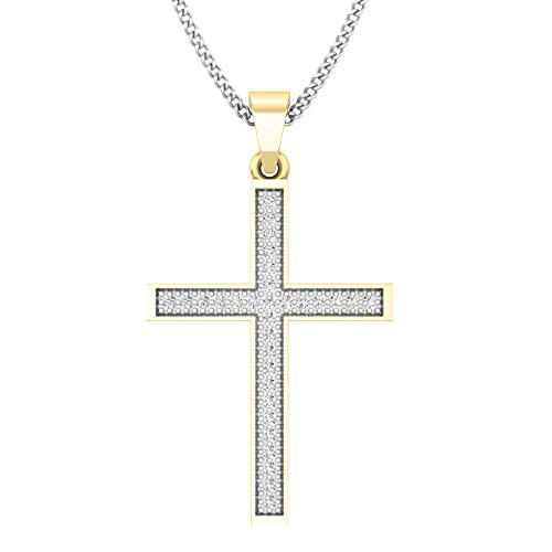 Dazzlingrock Collection 0.10 Carat (ctw) 10K Round Diamond Ladies Micro Pave Religious Cross Pendant 1/10 CT (Silver Chain Included), Yellow Gold
