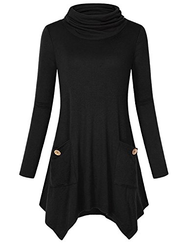 Anna Smith Tunic Tops for Leggings for Women, Ladies Mock Turtleneck Long Sleeve Asymmetric Hem Cute Blouses Loose Fit Shirt Flattering A Line Flare Sweaters with Pockets Black Medium by Anna Smith