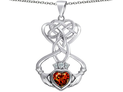- Star K Celtic Knot Claddagh Heart Pendant Necklace with Heart Shape Simulated Garnet Sterling Silver