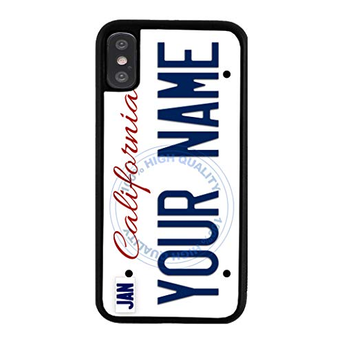 (BleuReign Personalized Custom Name California State License Plate Rubber Phone Case for Apple iPhone Xs)