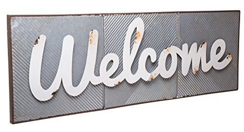"""Red Co. Large Vintage Style Metal Welcome Sign, Home & Garden Word Art Wall Décor, 30"""" x 10"""" from Red Co."""