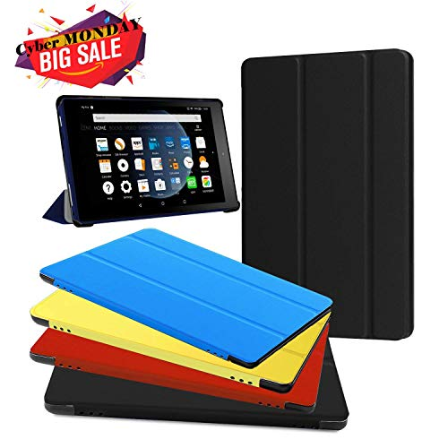 Fire HD 8 Case - Zerhunt Ultra Light Slim Fit Protective Cover with Auto Wake/Sleep for Fire HD 8 Tablet (7th and 8th Generation, 2017 and 2018 Release) Black