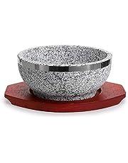 MDLUU Dolsot Bibimbap Bowl, Granite Stone Bowl with Wood Base, Dolsot Pot for Korean Soup, Rice and Stew