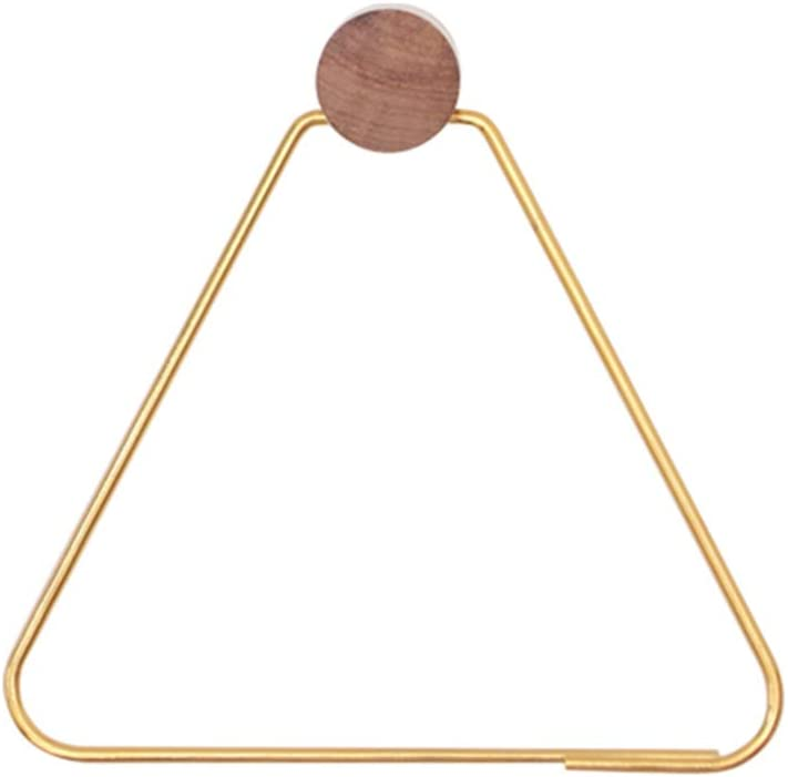 Liitrton Modern Triangle Bathroom Towel Ring Wall Mounted Towel Hanger Accessories for Bathroom Kitchen (Gold)