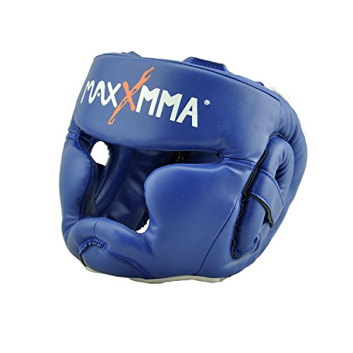 MaxxMMA Full Coverage Headgear (Blue) Boxing MMA Training Kickboxing Sparring Karate TaeKwonDo