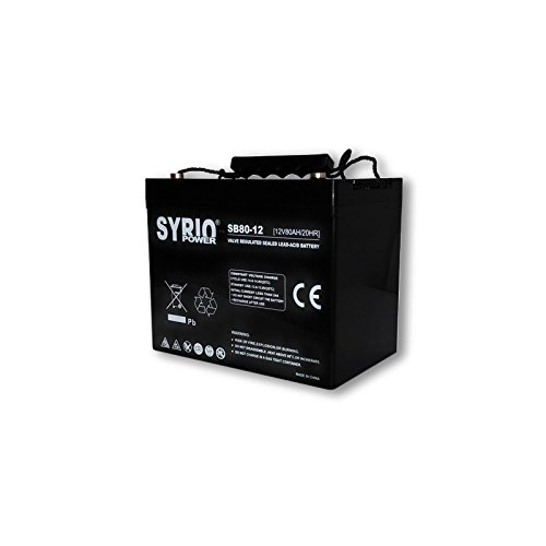 Battery 80 Ah 12 V AGM Syrio Power Off-Grid Solar System Electric Vehicles Marine