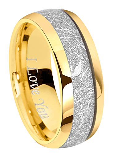 "Crownal 8mm Meteorite 24K Gold Tungsten Wedding Ring Band Engagement Ring Domed Polished Engraved""I Love You"" Size 7 To 17 (8mm,11)"