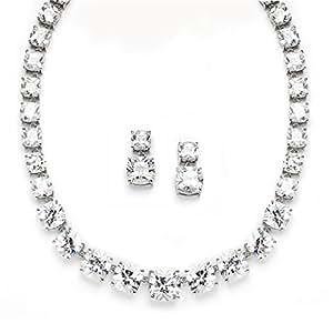 Majestic Radiant Cut Cubic Zirconia Wedding Necklace Set