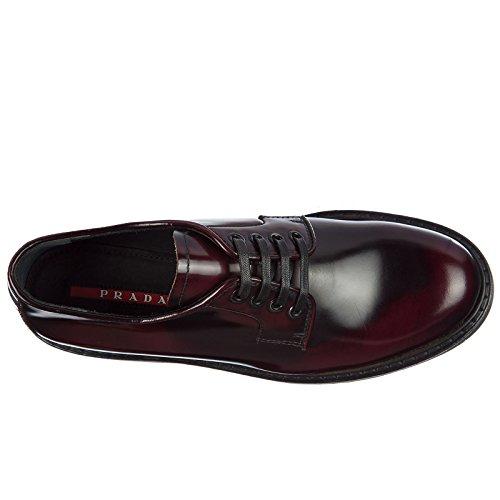 Piel Clásico Prada Zapatos En De Derby Bordeaux Cordones Mujer FYzwx6zOq