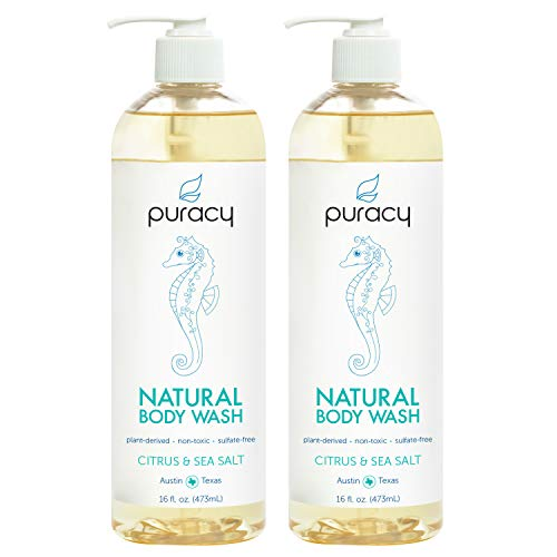 Puracy Natural Body Wash, Citrus & Sea Salt, Sulfate-Free Bath and Shower Gel, 16 Ounce (2-Pack) - Herbal Moisturizing Shower Gel