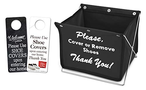 Foldable Shoe Cover Holder (Black) with Bonus Please Use Shoe Covers, Double Sided, Door Hanger ()