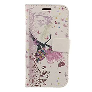 GHK - Butterfly Girl Drawing Pattern Faux Leather Hard Plastic Cover Pouches for Samsung Galaxy S3 I9300