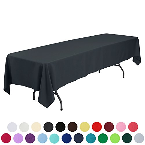 VEEYOO 60 x 126 inch Rectangular Solid Polyester Tablecloth for Wedding Restaurant Party , Dark Gray