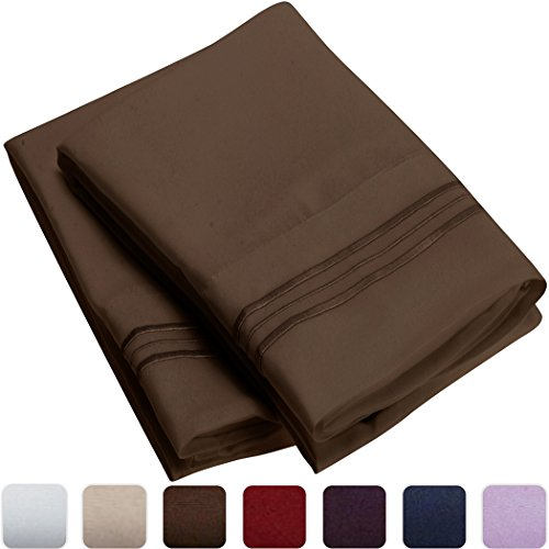 Mellanni Luxury Pillowcase Set - HIGHEST QUALITY Brushed Microfiber 1800 Bedding - Wrinkle, Fade, Stain Resistant - Hypoallergenic (Set of 2 Standard Size, Brown)