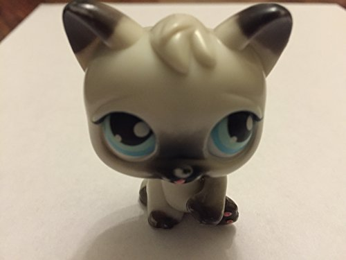 Persian Kitty - Littlest Pet Shop Magic Motion White & Gray Persian Kitty Cat Kitten, Tongue Sticks Out Of Mouth - Littlest Pet Shop (Retired) Collector Toy - LPS Collectible Replacement Figure - Loose (OOP Out of Package & Print)