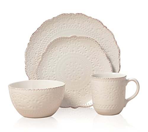 16-Piece Dinnerware Set, Microwave And Dishwasher Safe, Chateau Cream