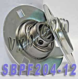 SBPF204-12 Flanged Mounted Bearing, 3 Bolt, 3/4