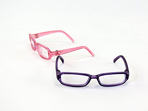 Two Pairs of Pink and Purple Glasses | Fits 14″ Wellie Wisher Dolls | 14 Inch Doll Accessories
