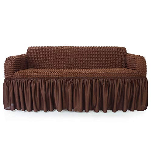 NICEEC 1-Piece Stretchable Easy Fit Sofa Cover Durable Furniture Slipcover in Country Style Made of Machine Washable and Quick-Drying Fabric for 3-seat Sofa and Couch(Sofa,Chocolate Brown) from NICEEC