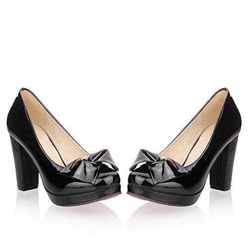 Mee Shoes Damen modern reizvoll süß Geschlossen mit Schleife Plateau Shallow Mund Pumps mit hohen Absätzen Schwarz