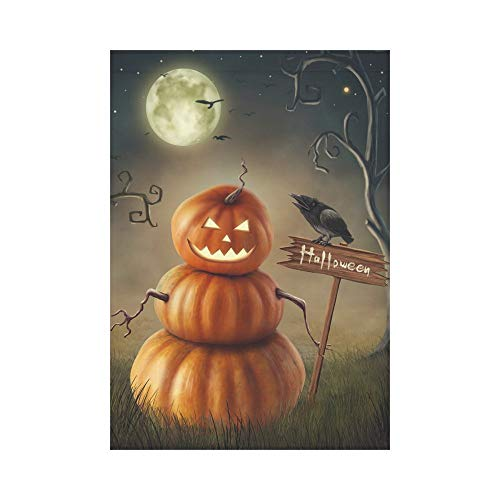 HUVATT Halloween Evil Pumpkin with Black Crow Polyester Garden Flag Outdoor Banner 28 x 40 inch, Scary Night Decorative Large House Flags for Party Yard Home -