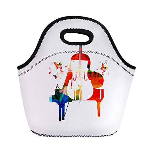 Semtomn Neoprene Lunch Tote Bag Violin Colorful Piano and Violoncello Music Instruments for Concert Reusable Cooler Bags Insulated Thermal Picnic Handbag for ()