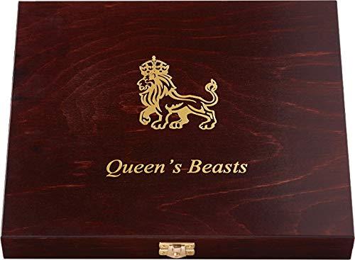 Power Coin Wooden CASE Box Etui Queen Beasts Series 2 Oz Display 10 Silber Münzen Holder