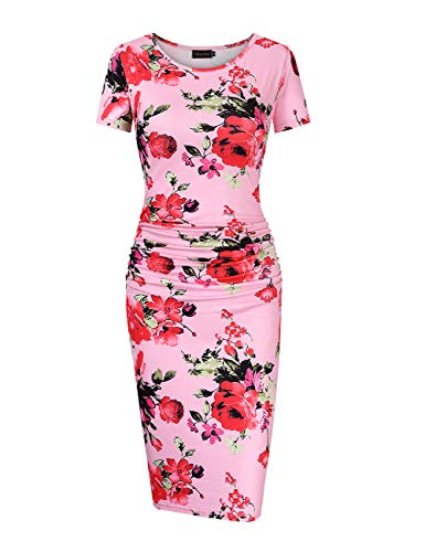 (GloryStar Women's Sleeveless Short Sleeve Ruched Midi Bodycon Sheath Pencil T Shirt Dress (L, Pink Floral ))