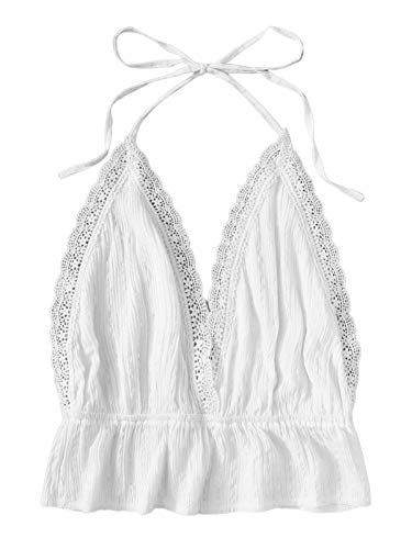 SweatyRocks Women's Deep V Neck Halter Crop Cami Top Sleeveless Vest White L