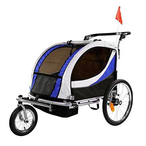 Clevr 3-in-1 Double 2 Seat Bicycle Bike Trailer Jogger Stroller for Kids Children | Foldable Collapsible w/Pivot Front Wheel, Blue