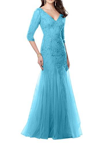 Hochwertig Etuikleider Partykleider Ballkleider mia Abendkleider Perlen Braut La Lang Meerjungfrau Blau Abschlussballkleider EOqSzx