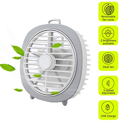 Eraindo Small Personal USB Desk Fan 360 Degree Rotation 3 Speeds Mini Size Desktop Table Protable Fan with USB Rechargeable Powerful Wind Quiet Operation for Home Office Car Outdoor Travel(White)