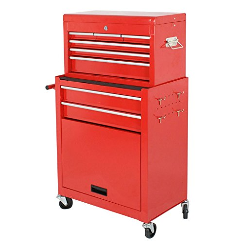 onestops8 2pc large red portable rolling tool box locking storage chest cabinet w wheels shop. Black Bedroom Furniture Sets. Home Design Ideas