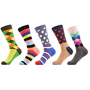 WeciBor Men's Colorful Business Trouser Dress Cotton Novelty Casual Crew Crazy Socks 5 Packs (0041-19)