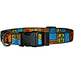 "Yellow Dog Design Tiki Print Dog Collar with Tag-A-Long ID Tag System-Medium-1"" and fits Neck 14 to 20"""