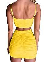 BEAGIMEG Women's Ruched Cami Crop Top Bodycon Skirt 2 Piece Outfits Dress