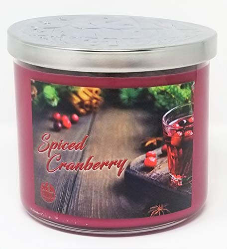 S&M Candle Factory Spiced Cranberry Candle ~ 3 Wick Scented Soy Wax 14.5oz ~ 80 Hour Burn Time ~ Aromatherapy Soy Candles ~ Made in USA (14.5 oz, Red) ()