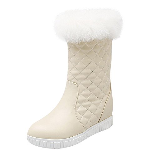 Mee Shoes Damen süß runde warm gefüttert Reißverschluss hidden heels Schneestiefel Beige