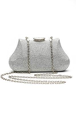 Women Clutch Purse Hard Case Shiny Evening Bag Glitter Handbag With Chain Strap