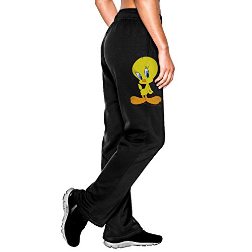 MEGGE Women's Tweety Bird Drawstring Athletic Lounge Sweatpants Black L (Tweety Bird Watch For Women)