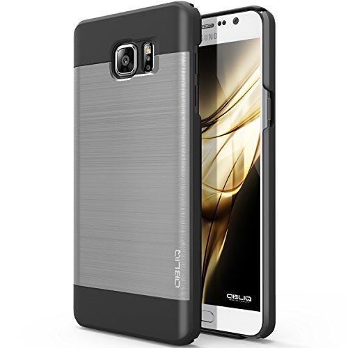 Galaxy Note 5 Case, OBLIQ [Slim Meta][Satin Silver/Black] - Thin Slim Fit Bumper Metallic Polycarbonate Finish All Around Protection Hard Case for Note 5