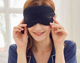 YUNS 100% Mulberry Silk Sleep Mask with Adjustable Strap, Both Sides Silk, Big Size 22X10cm, Super-Soft & Super-Smooth Eye Mask. (Black x 2)