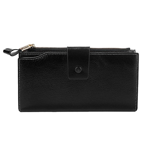 S ZONE Womens RFID Blocking Genuine Leather Clutch Wallet